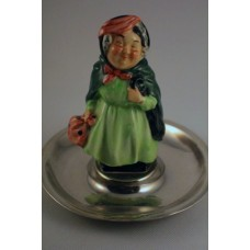 Royal Doulton M46 Sairey Gamp Miniature on Silver tray