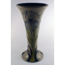 Moorcroft Pottery Green Iris Trumpet Vase - Perfect